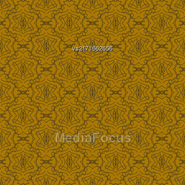 Seamless Texture On Brown. Element For Design. Ornamental Backdrop. Pattern Fill. Ornate Damascus Decor For Wallpaper. Traditional Decor On Background Stock Photo