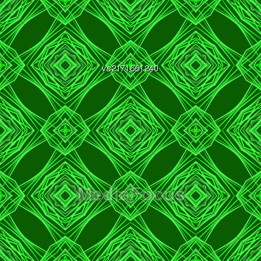 Seamless Texture On Green. Element For Design. Ornamental Backdrop. Pattern Fill. Ornate Floral Decor For Wallpaper. Traditional Decor On Background Stock Photo