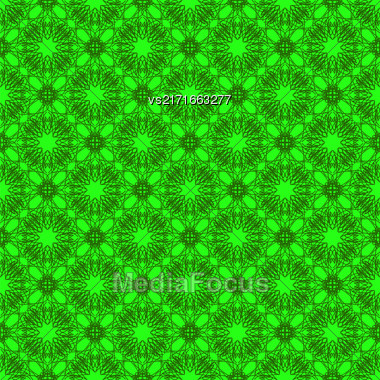Seamless Texture On Green. Element For Design. Ornamental Backdrop. Pattern Fill. Ornate Floral Decor For Wallpaper. Traditional Decor On Green Background Stock Photo