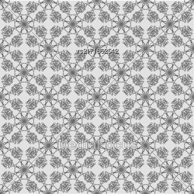 Seamless Texture On Grey. Element For Design. Ornamental Backdrop. Pattern Fill. Ornate Floral Decor For Wallpaper. Traditional Decor On Background Stock Photo