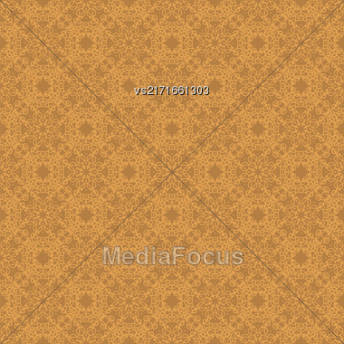 Seamless Texture On Orange. Element For Design. Ornamental Backdrop. Pattern Fill. Ornate Floral Decor For Wallpaper. Traditional Decor On Background Stock Photo