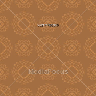 Seamless Texture On Orange. Element For Design. Ornamental Backdrop. Pattern Fill. Ornate Floral Decor For Wallpaper. Traditional Decor On Orange Background Stock Photo