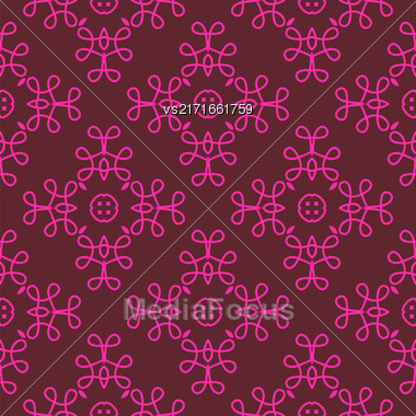 Seamless Texture On Red. Element For Design. Ornamental Backdrop. Pattern Fill. Ornate Floral Decor For Wallpaper. Traditional Decor On Red Background Stock Photo