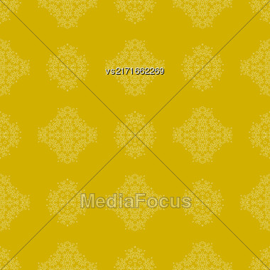 Seamless Texture On Yellow. Element For Design. Ornamental Backdrop. Pattern Fill. Ornate Floral Decor For Wallpaper. Traditional Decor On Background Stock Photo