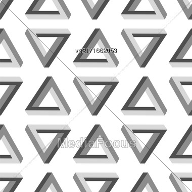 Seamless Triangles Pattern. Impossible Grey Triangle Background Stock Photo