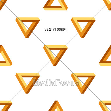 Seamless Triangles Pattern. Impossible Orange Triangle Background Stock Photo