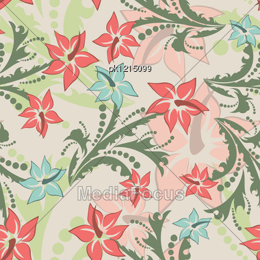 Seamless Vector Floral Pattern. For Easy Making Seamless Pattern Just Drag All Group Into Swatches Bar, And Use It For Filling Any Contours. Stock Photo
