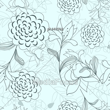Seamless Vector Floral Pattern. For Easy Making Seamless Pattern Just Drag All Group Into Swatches Bar, And Use It For Filling Any Contours. EPS 10 Stock Photo