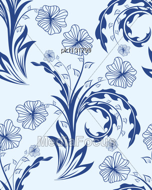 Seamless Vector Floral Pattern Stock Photo