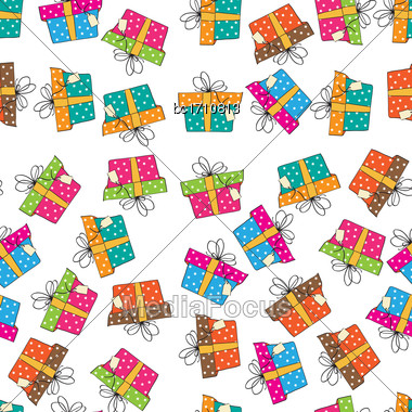 Seamless Vector Pattern With Gift Boxes Stock Photo