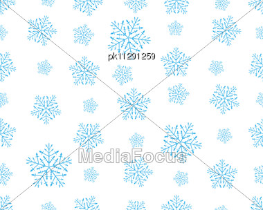 Seamless Vector Snowflakes Background In Different Shapes Stock Photo