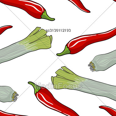 Seamless Vegetable Pattern Leek And Red Pepper Stock Photo