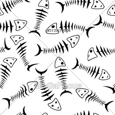 Seamless Wallpaper Skeleton Fish Vector Background Stock Photo