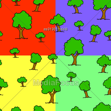 Seamless Wallpaper Tree On Different Color Backgrounds Stock Photo