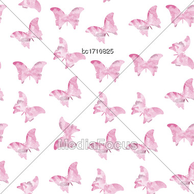 Seamless Watercolor Butterflies Pattern. Vector Illustration Stock Photo