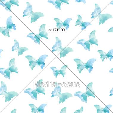 Seamless Watercolor Butterflies Pattern. Vector Illustration Stock Photo