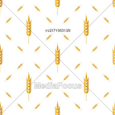 Seamless Wheat Pattern. Set Of Ears Isolated On White Background Stock Photo