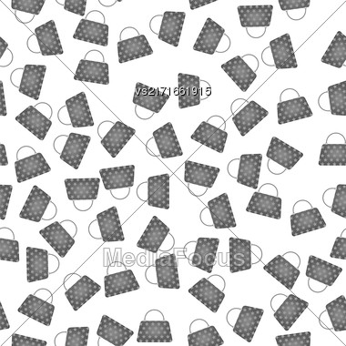 Seamless Womens Grey Handbags Pattern On White Background Stock Photo