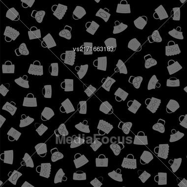 Seamless Womens Handbag Pattern On Black Background Stock Photo