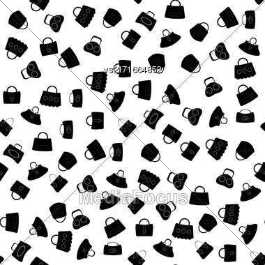 Seamless Womens Handbag Pattern On White Background Stock Photo
