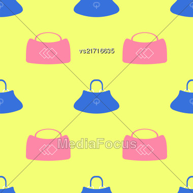 Seamless Womens Handbag Pattern On Yellow Background Stock Photo