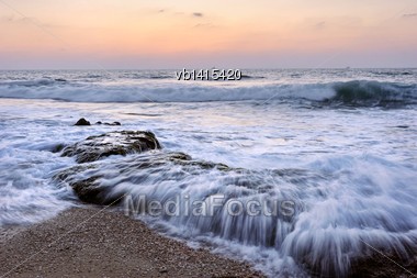 Seashore After Sunset Shore Of The Mediterranean Sea Late In The Evening After Sunset Stock Photo