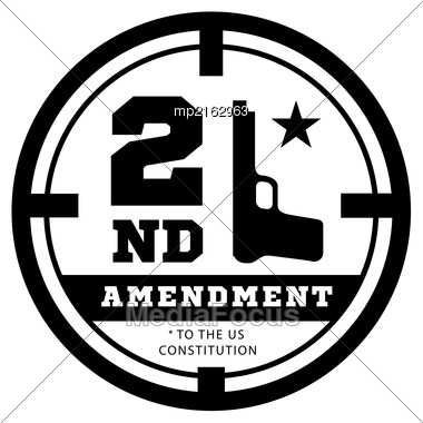 Second Amendment To The US Constitution To Permit Possession Of Weapons. Vector Illustration Stock Photo
