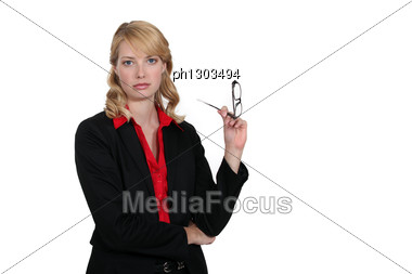 Seductive Blond Office Worker Stock Photo