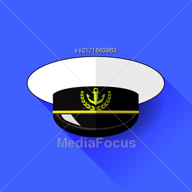 Seilor Hat Icon Isolated On Blue Background. Long Shadow Stock Photo