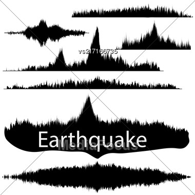 Seismogram Of Different Seismic Activity Record Illustration, Earthquake Wave On Paper Fixing, Stereo Audio Wave Diagram Background. Earthquake Sign. Earthquake Seismic Activity Illustration Stock Photo