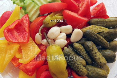Selection Of Vegetables-tomato, Sweet Peppers, Cucumbers, Garlics, Summer Squash Stock Photo