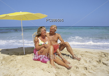 Senior Couple at the Beach Stock Photo