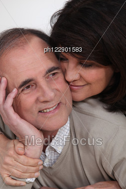 Senior Couple Embracing Stock Photo