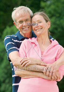 Senior Couple Hugging Stock Photo
