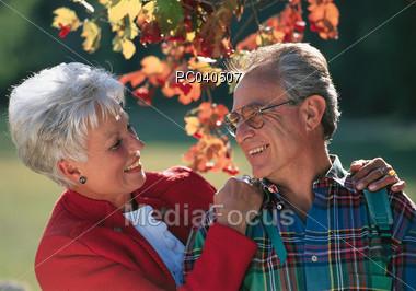 Senior Couple in the Park Stock Photo