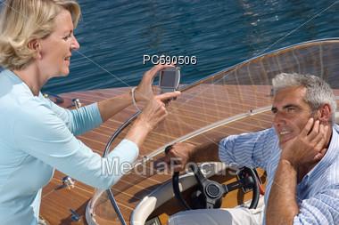 Senior Couple On Boat Stock Photo