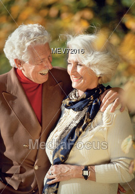 Senior Couple Outdoors Smiling Stock Photo