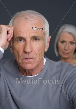 Senior Couple Worried Stock Photo