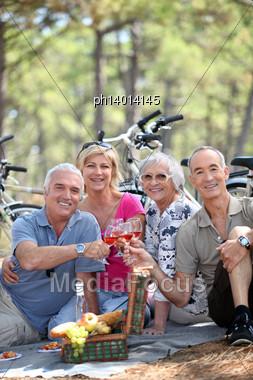 Senior People During Picnic Stock Photo