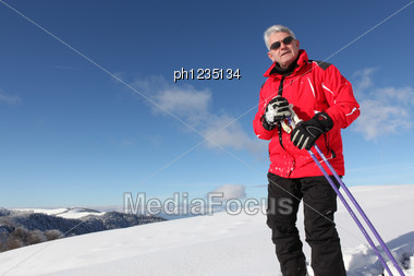 Senior Skiing Stock Photo