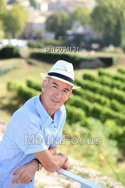 Senior Visiting A Vineyard Stock Photo