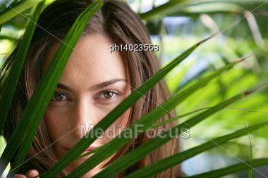 Sensual Woman Behind Foliage Stock Photo