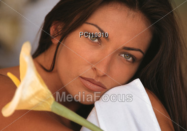 Sensual Woman With Calla Flower, Portrait Stock Photo