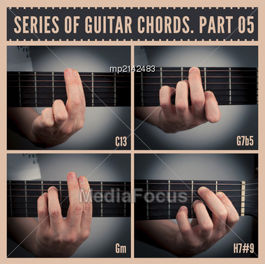 Series Of Guitar Chords With Symbols. Part 05 Stock Photo