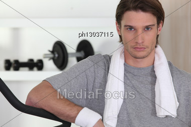 Serious Man In Gym Stock Photo