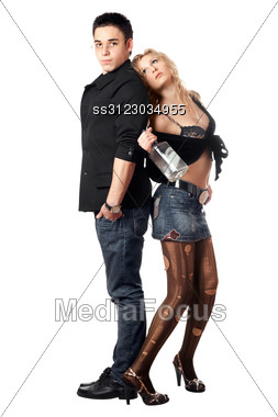 Royalty-Free Stock Photo: Serious Young Man And Girl With A Bottle.