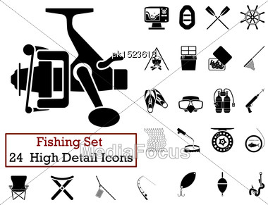 Set Of 24 Fishing Icons In Black Color Stock Photo