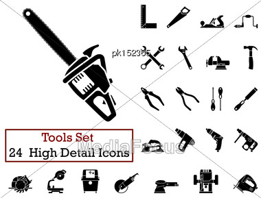 Set Of 24 Tools Icons In Black Color Stock Photo