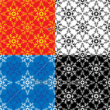 Set Of 4 Different Colors Seamless Textures - Vintage Ornamental Patterns Stock Photo