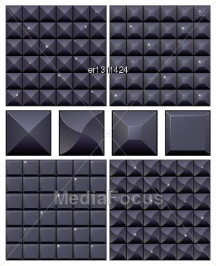 Set Of 4 Seamless Black Mosaic Backgrounds Stock Photo